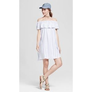 Mossimo Striped Ruffle Off-the-Shoulder Dress